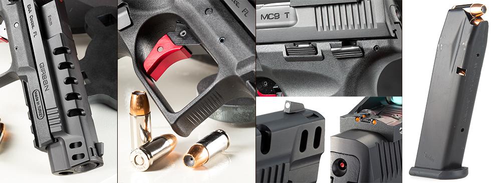hinged trigger, 17-round magazine, Lightening cuts