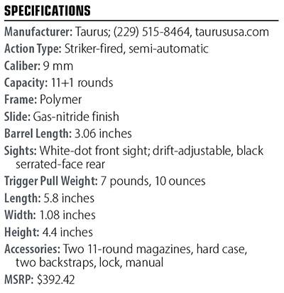 Especificações Taurus I GX4 9 mm